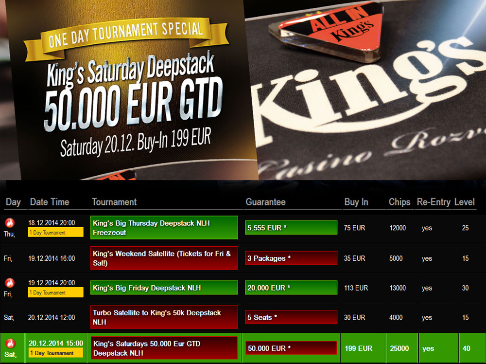 Kings Casino Rozvadov Turnierplan