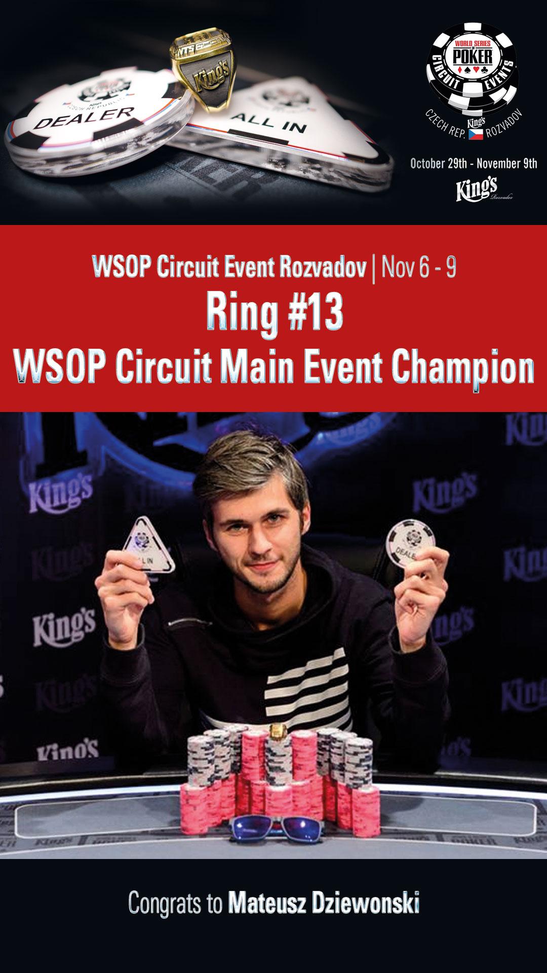 WSOP Circuit Rozvadov Main Event Sieger Mateusz Dziewonski (POL)