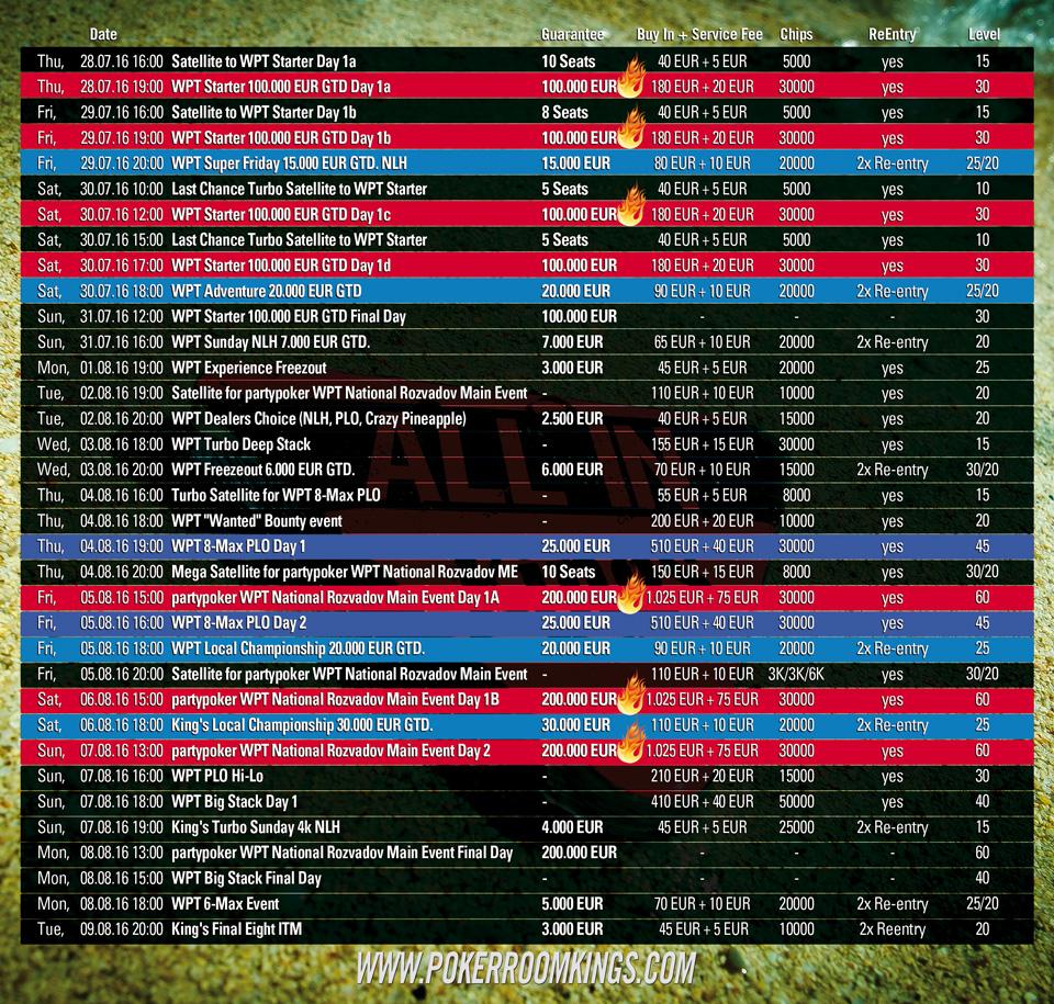 WPT Schedule