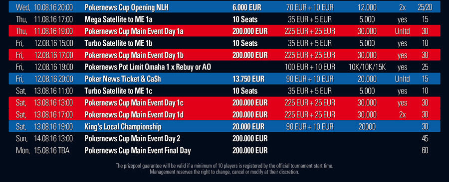 PokerNews Cup Schedule Neu