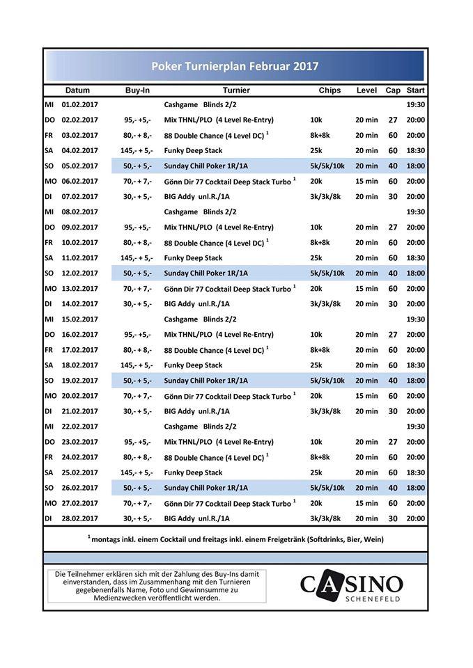 Casino Schenefeld Turnierplan Februar 2017