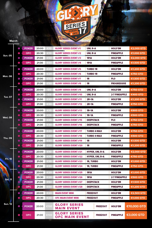 TonyBet Schedule