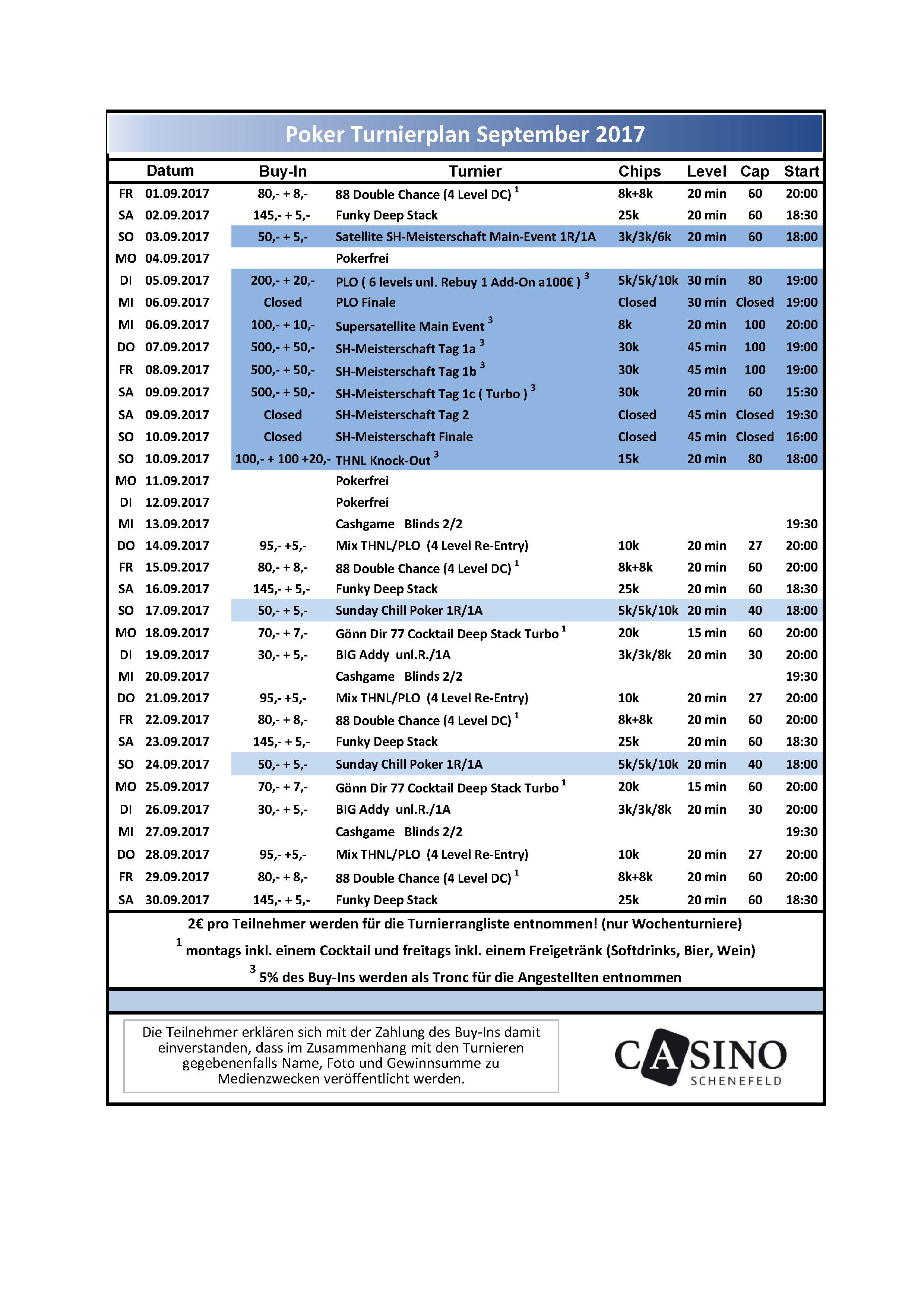 CSS Turnierplan September
