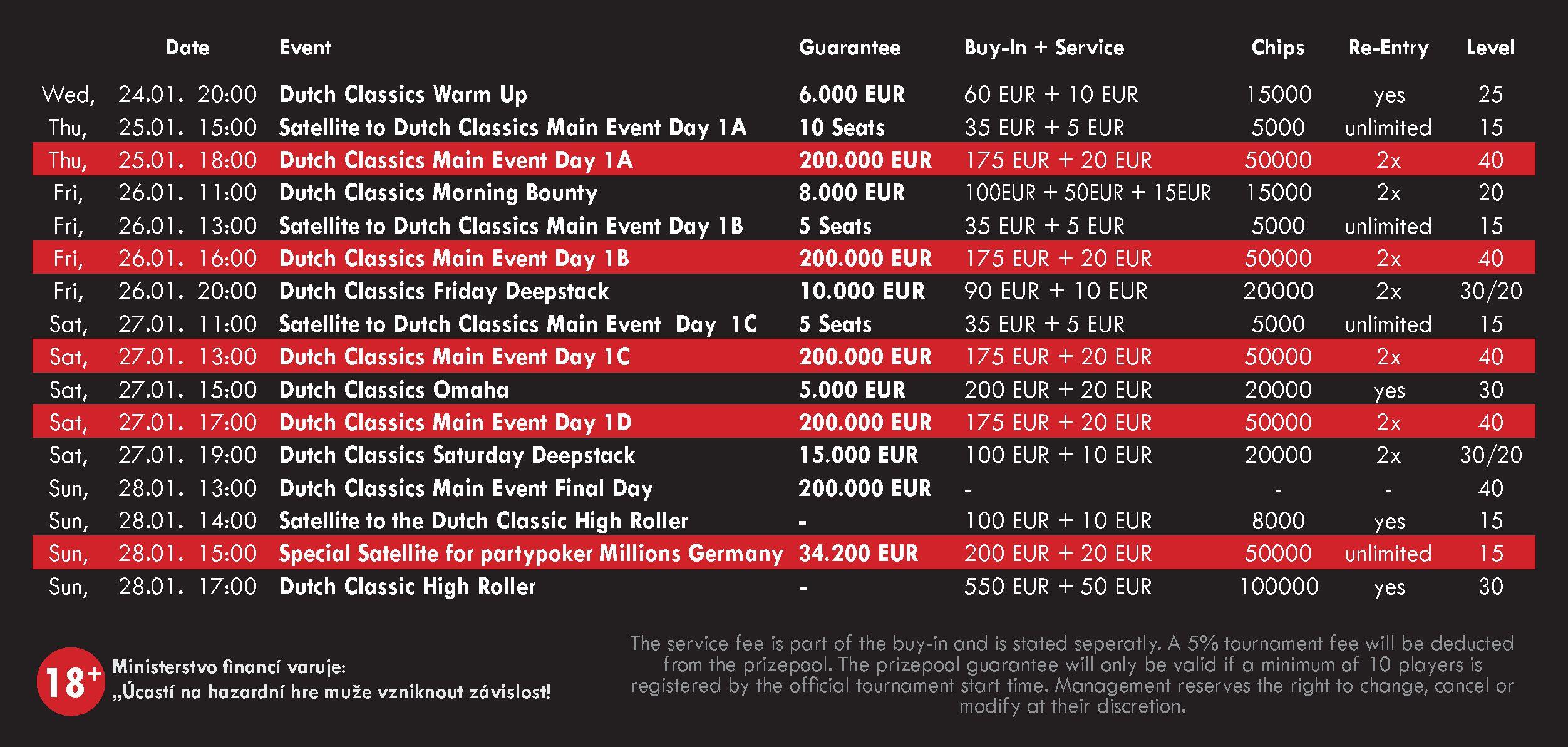 Dutch Classics Schedule