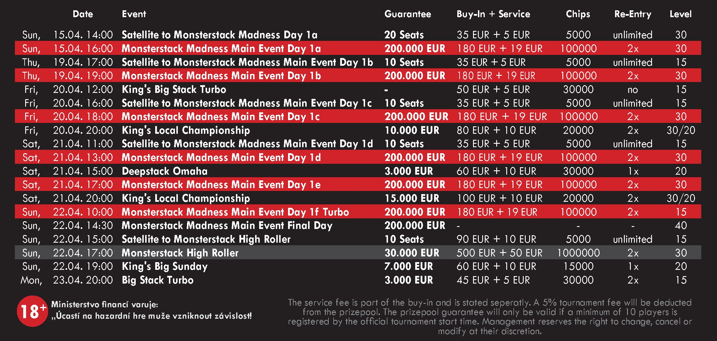 Monster Stack Madness Special schedule