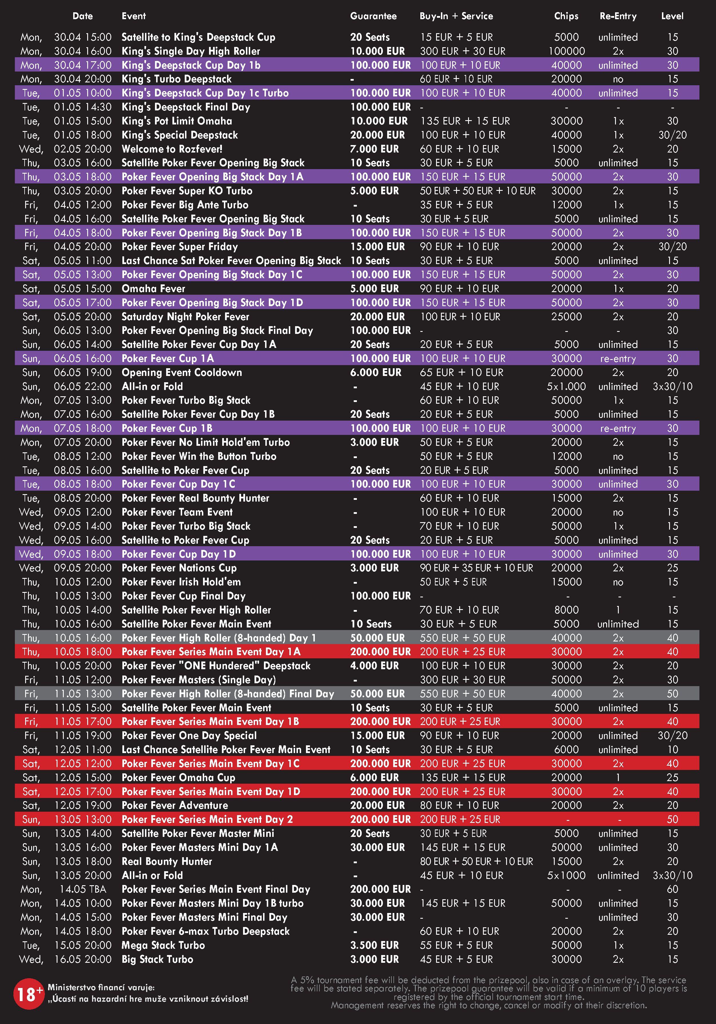 Poker Fever Schedule