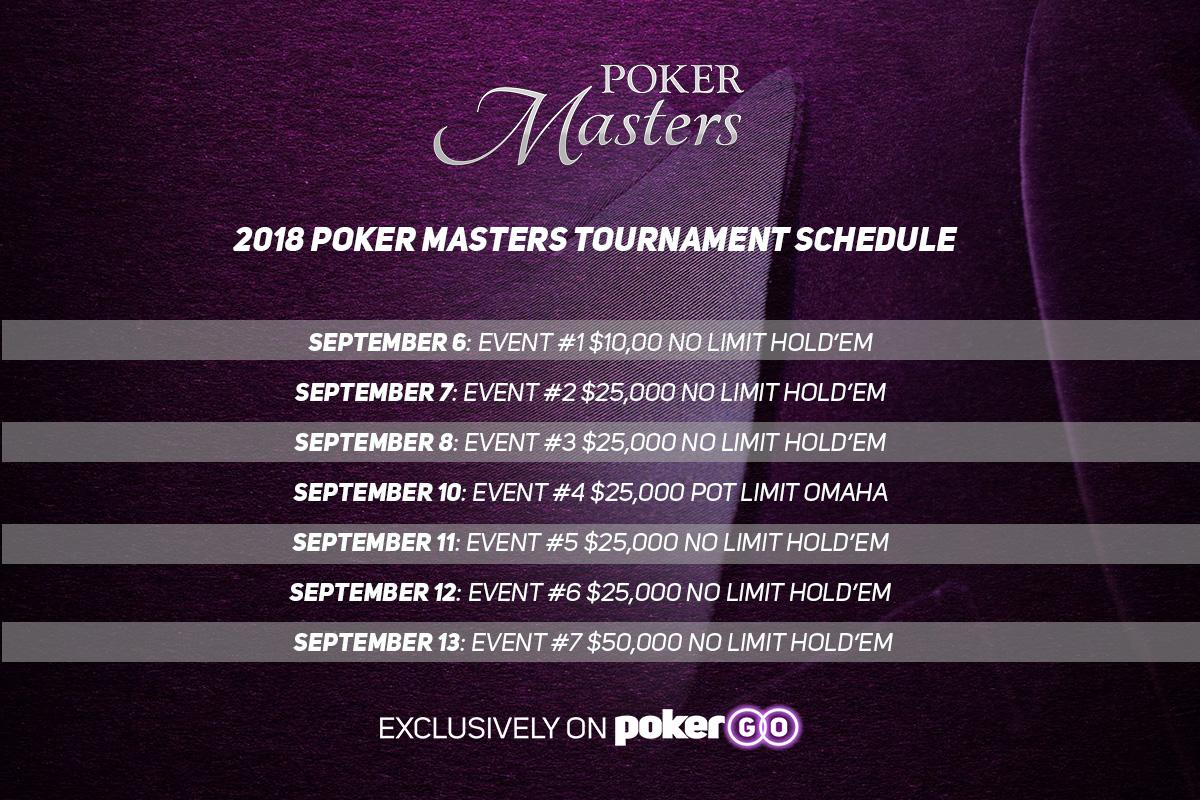 2018 Poker Masters Schedule