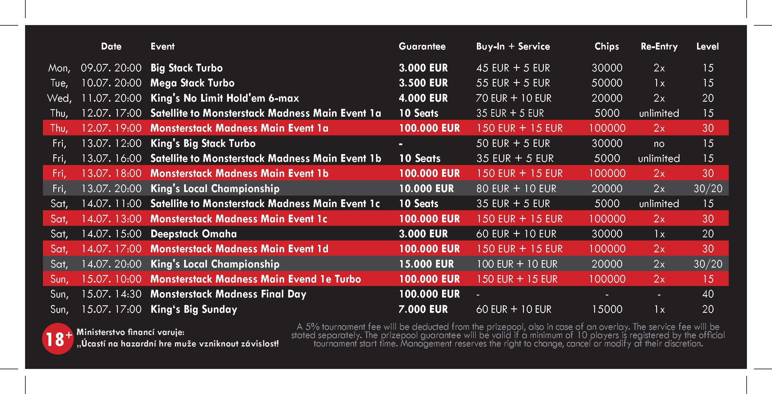 Schedule Monsterstack Madness Juli