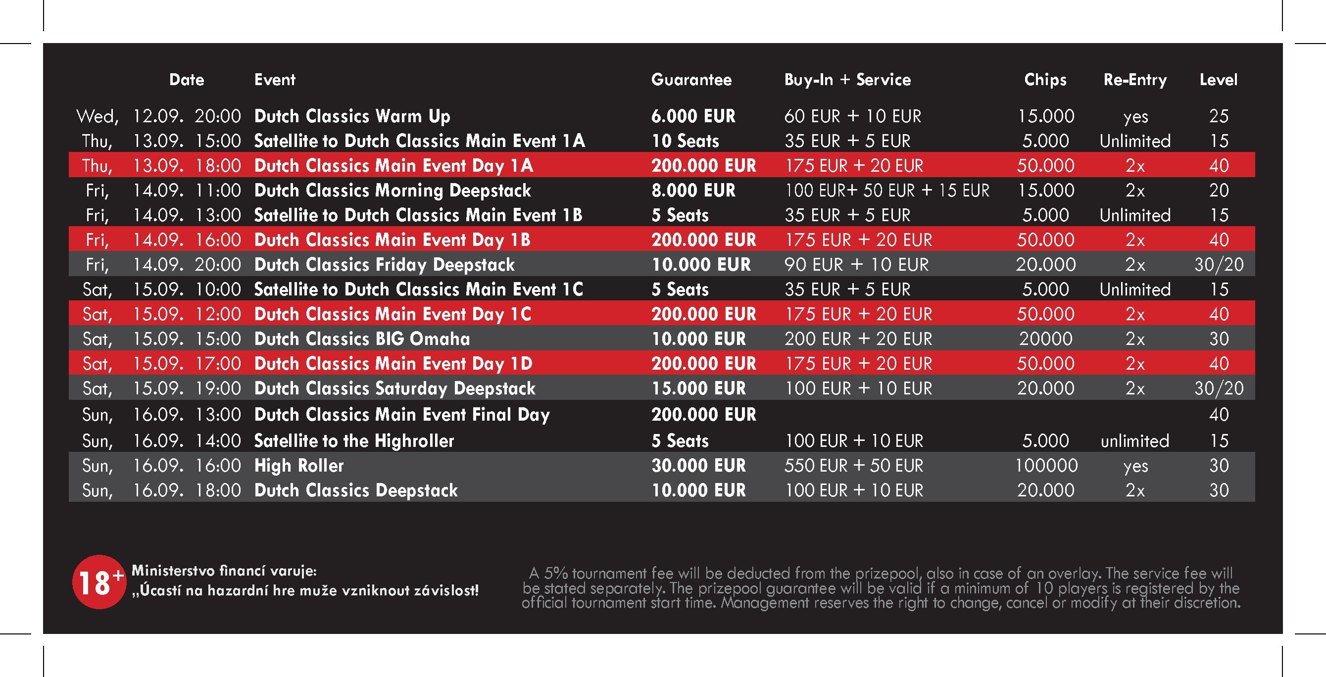 Dutch Schedule